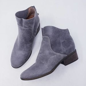 Lucky Brand Lahela Grey Leather Ankle Boot Sz 8.5